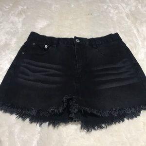 Black Denim High Wasted Shorts Size M